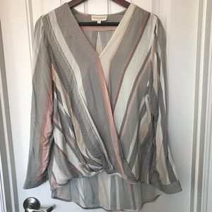 Cynthia Rowley Crossed Twisted Long Sleeve Blouse